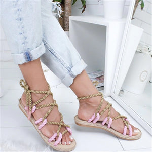 Gladiator Roman Cross Tied Rope Women Sandals