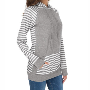 Smart Casual Hooded Striped Sweatshirt Top Hoodie