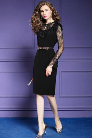Vintage Lace Slim Pencil Formal Midi Dress