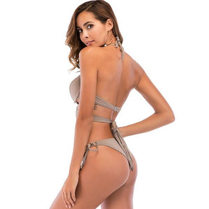 Sexy Halter Bather Cup Bra Push Up Swimwear Bikini Set Verkadi.com
