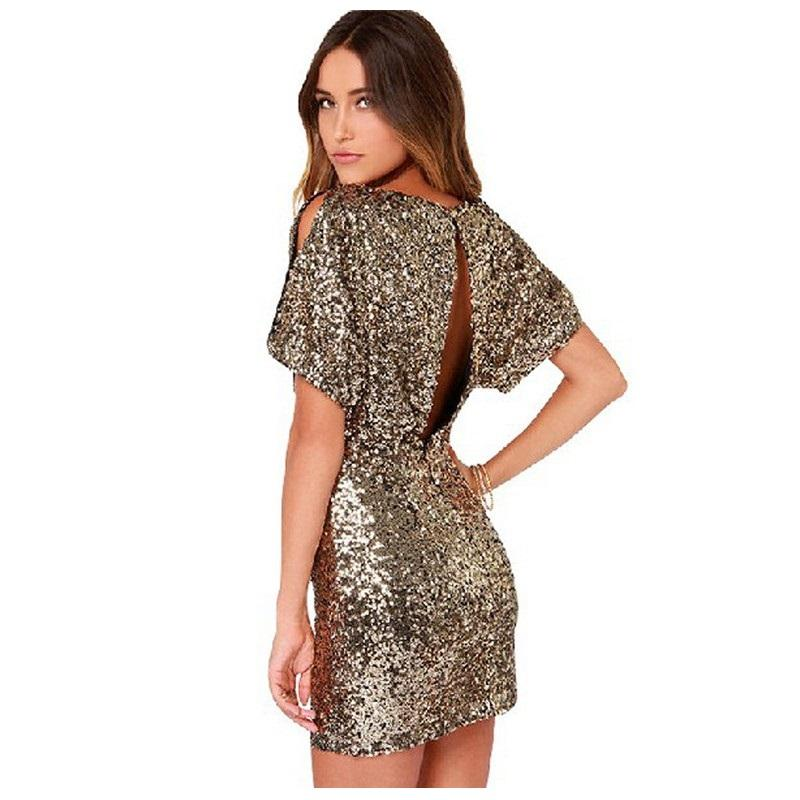 Sequin Open Back Short Sleeve Night Club Dress Verkadi.com