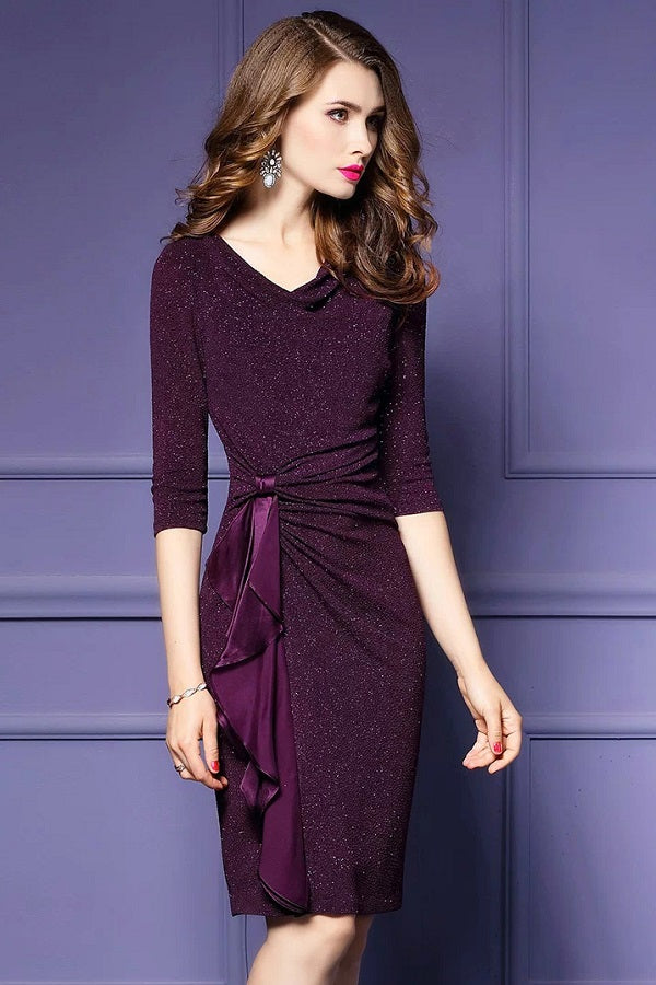 Pencil Ruffles Asymmetrical Formal Midi Dress