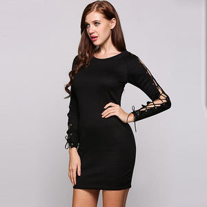 Fashion Pencil Lace Up Long Sleeve Bodycon Dress Verkadi.com