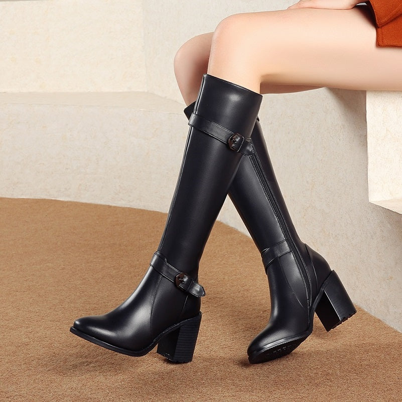 Genuine Leather Square High Heels Zip Up Knee High Long Boots
