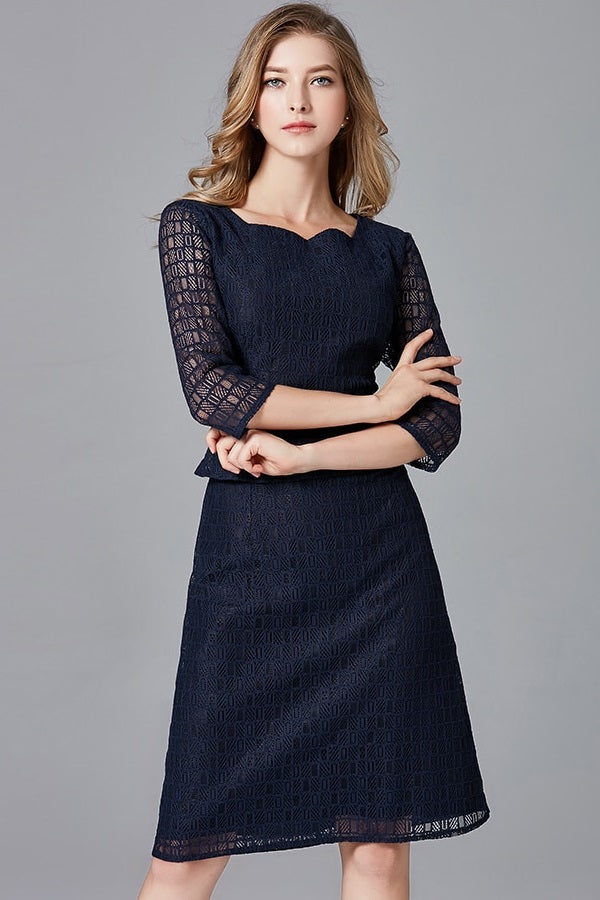 Dark Blue Lace Slim Tunic Plus Size Pro Midi Dress