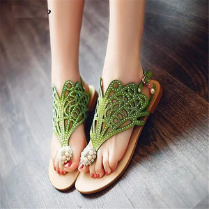 Crystal Comfortable Buckle Strap Flat Sandals Verkadi.com
