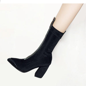 Leather Corduroy Pointed Toe Square High Heel Mid Calf Boots