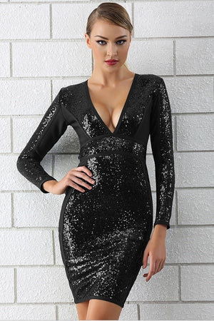 Chic Hot Deep V Neck Sequin Long Sleeve Bodycon Club Mini Dress