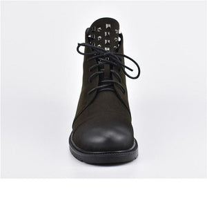 New Rivet Lace Up Chunky Low Heel Ankle Boots