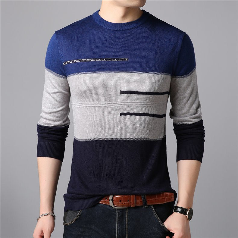 Smart Casual O-Neck Thin Men Pullover Sweater