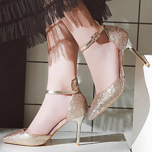 Classy Bling PU Ankle Strap Sexy High Heel Pumps Shoes