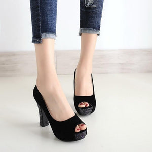 New Glitter Platform High Heels Shallow Pumps Sandals Verkadi.com