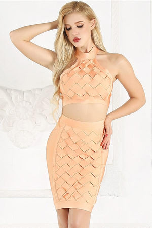 Two Piece Open Back Halter Cross Bandage Dress