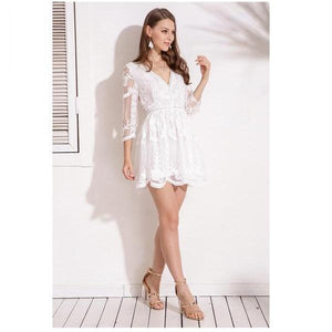 Hot Lace Lining Deep V Neck High Street Dress Verkadi.com