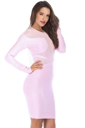 Pink Patchwork Mesh Long Sleeve Bodycon Pencil Dress