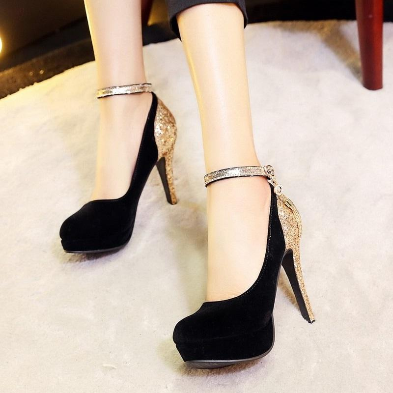 New Platform Rhinestone Fringe High Heel Pumps Shoes Verkadi.com