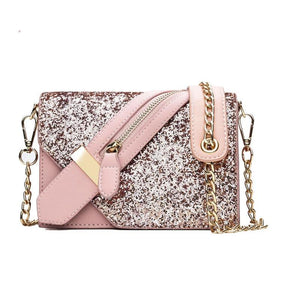Flap Chains Cross Body Sequins Messenger Shoulder Bag