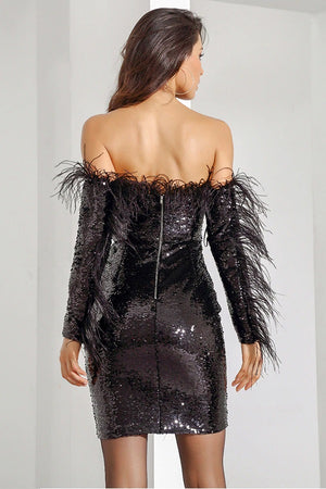 Sexy Black Feathers Strapless Sequins Party Club Mini Dress