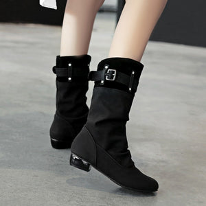 Cross Belt Button Sleeve Low-Heeled Mid-Calf Boots