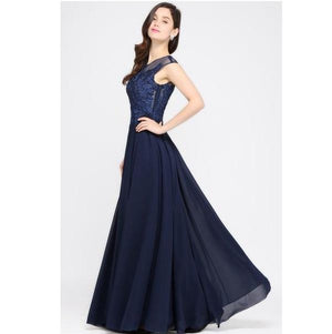 Classy Sequin Lace O-Neck Sleeveless Evening Dress Gown Verkadi.com