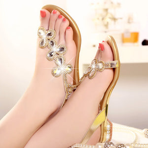 Summer Bohemia Rhinestone Women Flat Sandals