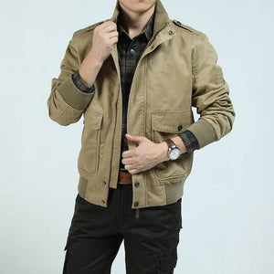 Stand Collar Military Style Cotton Men Jacket