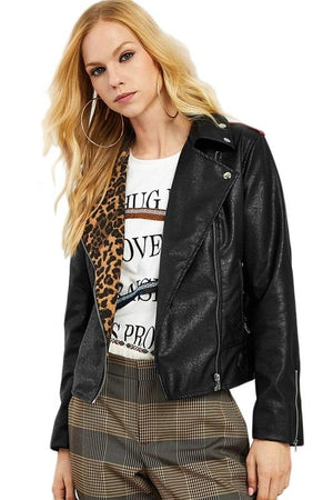 Leopard Print Faux Leather High Street Women Jackets