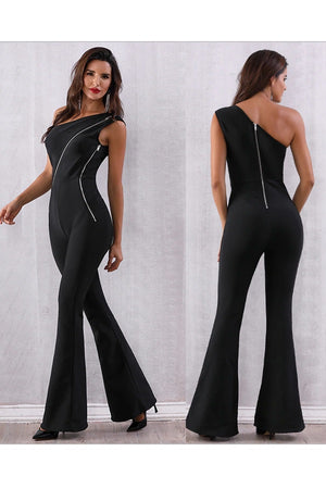 Sexy Hot One Shoulder Bandage Long Jumpsuit Dress
