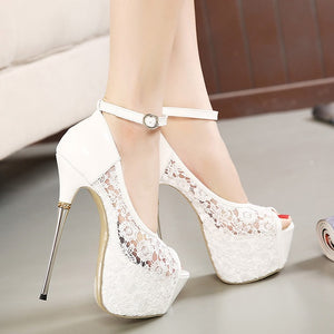 Lace Flower Slip On Round Toe High Heels Platform Pumps