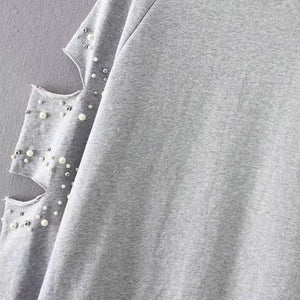 Gray Pearl Embellished Ripped Long Sleeve Sweatshirt Verkadi.com