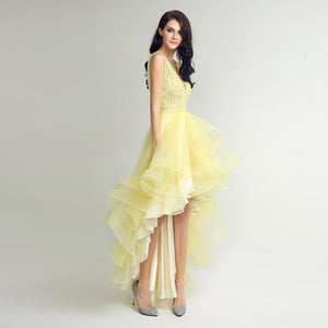 Asymmetrical With Lace Beaded Prom Event Party Dress Verkadi.com