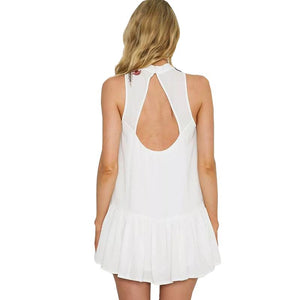 Mini Embroidery O-Neck Backless Short Dress