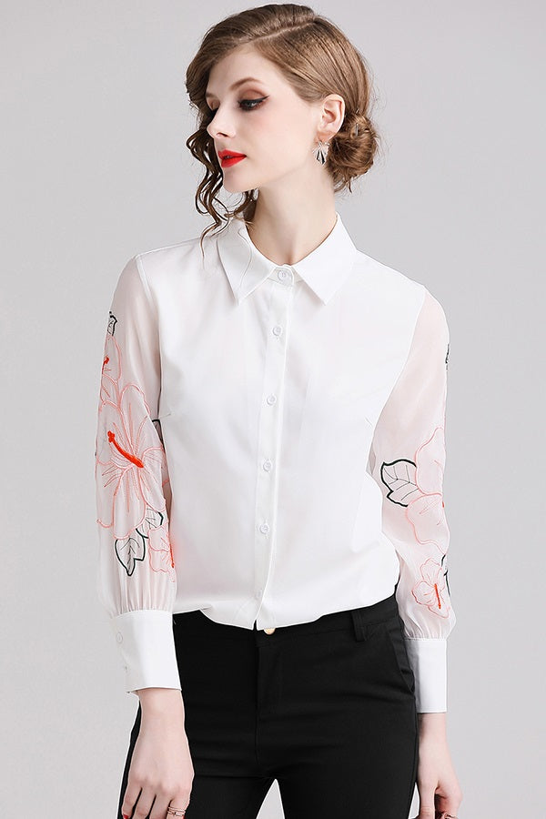 Embroidered Lantern Sleeve Women's Shirt Blouse Top