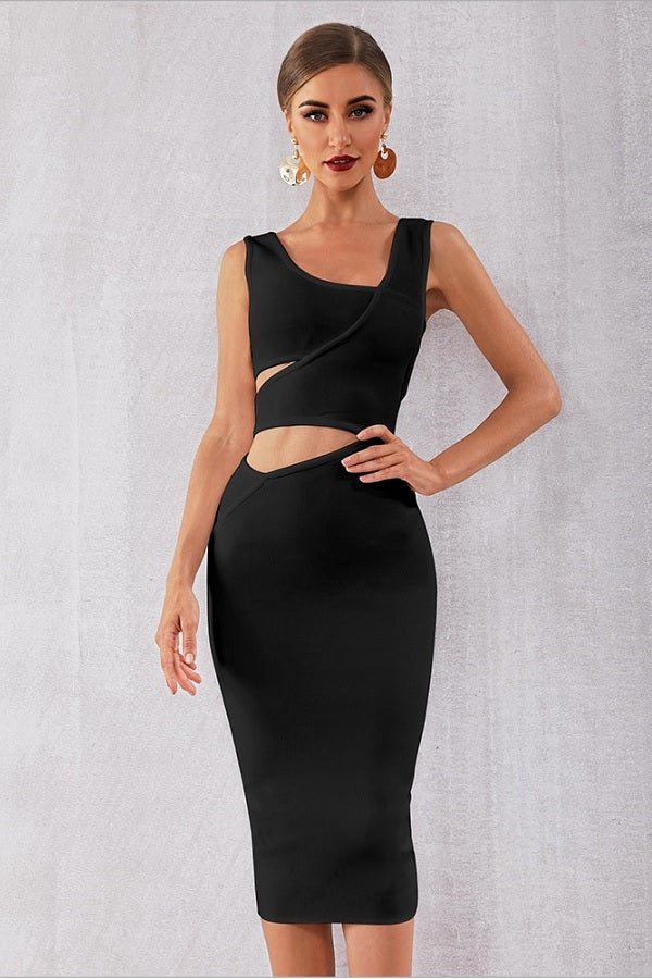 Bandage Tank Hollow Out Sleeveless Bodycon Club Party Midi Dress