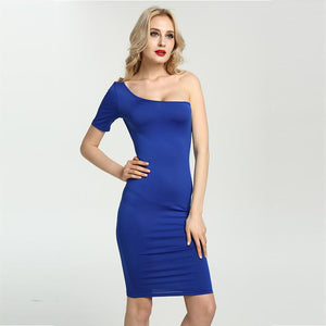 Sexy One Shoulder Bodycon Slim Dress Verkadi.com