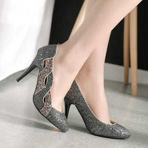 Elegant Pointed Toe Shallow Glitter Bling Heel Pump Shoes Verkadi.com