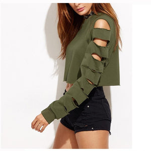 Sexy Hollow Out Long Sleeve Crop Top Sweatshirt Hoodie Verkadi.com