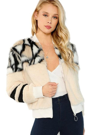 Multi Color O-Ring Zip Up Faux Fur Women Jackets