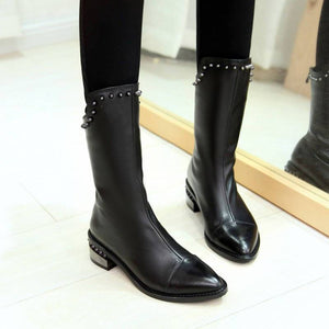 New Genuine Leather Pointed Toe Riveted Long Ankle Boots