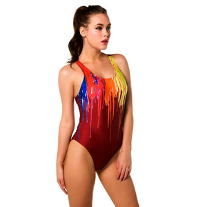 New One Piece Padded Paint Drop Printed Swimwear Swimsuit Verkadi.com