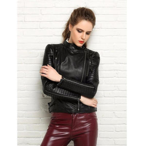 Hip Genuine Leather Soft Slim Fit Punk Bomber Jacket