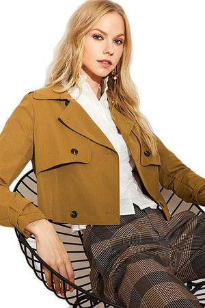Flap Front Belted Cuff High Street Women Jackets