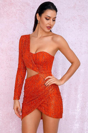 Orange Cut Out Single Sleeve Glitter Bodycon Party Mini Dress