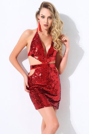 Sexy V-Neck Cut Out Open Back Sequined Club Mini Dress