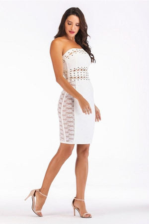 Strapless Lace Up Hollow Out Sheath Mini Dress