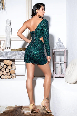 Sexy Green Cut Out Single Sleeve Glitter Party Mini Dress