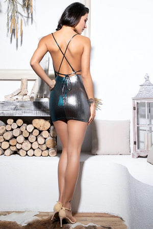 Hot Deep V-Neck Open Back Glitter Fabric Party Mini Dress