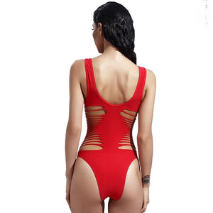 Sexy One Piece Cut Out Bandage Ripped Body Swimsuit Verkadi.com