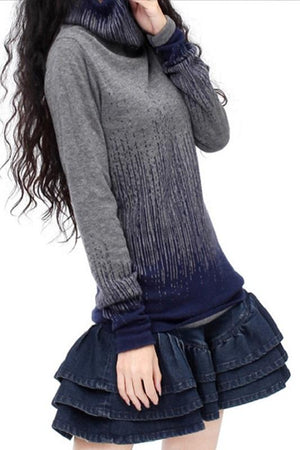 Gradient Vintage Turtleneck Knitted Cashmere Sweaters Pullovers