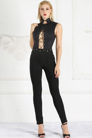 lace up women bodysuits rompers